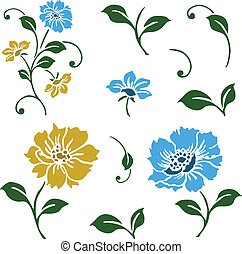 Vector Blue and Yellow Floral Icons