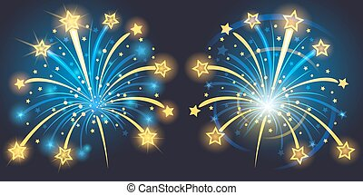 Vector Brightly Fireworks with stars and sparks