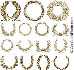 Vector Bronze Wreath and Laurel Set