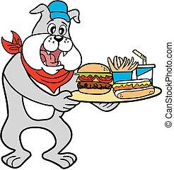 Vector-Bulldog With Burger Platter