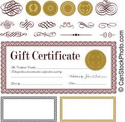 Vector Burgundy Gift Certificate Set