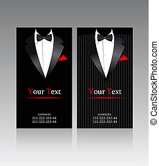 Vector business cards with elegant suits for businessmen