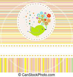 vector card with cute birds flowers