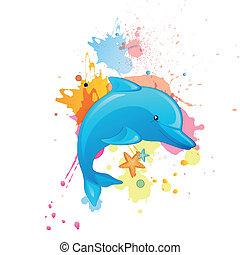 Vector Cartoon Dolphin