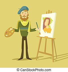 Vector cartoon flat artist