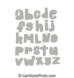 Vector cartoon funny Alphabet. Cute gray vector English