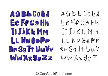 Vector cartoon hand drawn decorative modern vector ABC