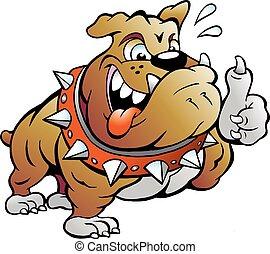 Muscular Bull Dog giving Thumb Up
