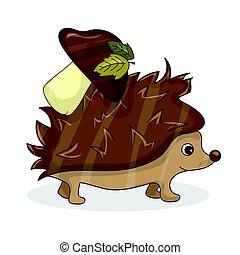 Vector cartoon image of a cute brown hedgehog with white-brown mushroom