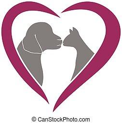 Vector cat and dog heart love logo