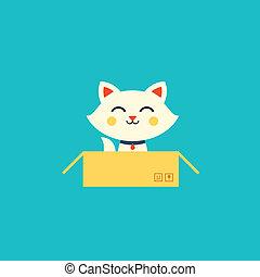 vector cat illustration cute flat style pet