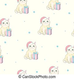 Vector christmas seamless pattern with grey cat with green eyes in santa hat and bow tie isolated on the white background. Text Merry Christmas.