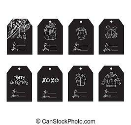 Vector Christmas tags with season icons. Chalkboard effect.