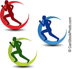 Vector circular symbol of fitness - runner silhouette - illustration