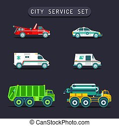 Vector city transport set in flat style. Town municipal different special, emergency service cars, trucks icons collection.