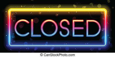 Vector - Closed Neon Sign Rainbow Color