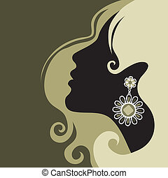 """Vector closeup portrait of a girl with beautiful hair (from my big """"Vintage girl collection"""")"""