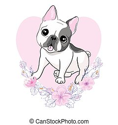 vector closeup portrait of the domestic dog French Bulldog breed on the white background