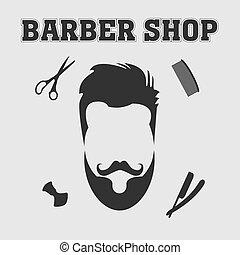 Vector collection of barber shop hair saloon - design elements logo emblem badge Including blade comb scissors