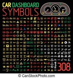 vector collection of car dashboard panel warning light indicators