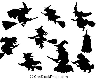 vector collection of isolated witch flying on broom silhouettes