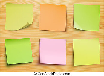 Vector collection of post it notes in several colors on the wooden plate for your own text or image