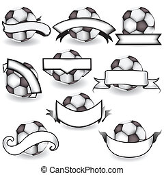 soccer balls with banners