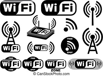 Collection of wi-fi symbols. This image is a vector illustration and can be scaled to any size without loss of resolution.