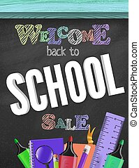 Vector color Illustration of 3D Realistic Back to School Sale Title Poster Design with Items on a blackboard Background