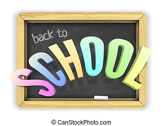 Vector colorful Back to School Title banner concept with 3D Realistic wooden blackboard on white Background.