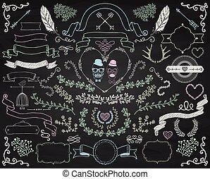 Set of Colorful Hand Drawn Doodle Floral Design Elements. Decorative Ribbons, Frames, Wreaths. Valentines Day. Wedding. Chalk Drawing Vintage Vector Illustration. Chalkboard Background Texture