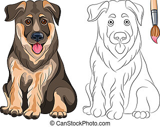 Vector Coloring Book of smiling Puppy dog German shepherd