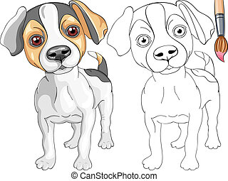 Vector Coloring Book for Children of funny smiling Puppy dog Jack Russell Terrier breed