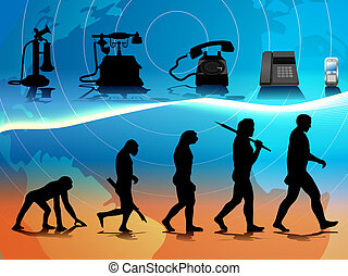 vector conceptual illustration comparing human and phone evolution