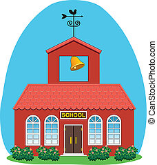 vector illustration of country school house