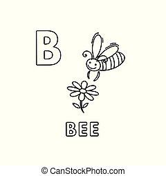 Vector Cute Cartoon Animals Alphabet. Bee Coloring Pages