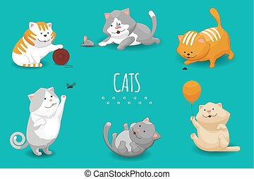 Vector cute kittens illustration