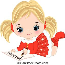 Vector Cute Little Girl Writing Letter to Santa