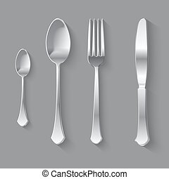 Silver Fork Spoon and Knife Top View