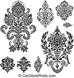 Set of ornamental vector damask illustrations. Easy to edit. Perfect for invitations or announcements.