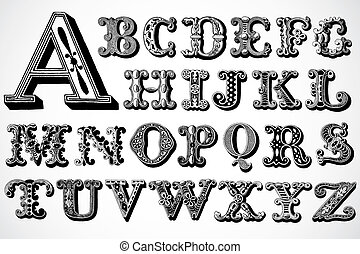 Set of ornate letters. Easy to edit and scale to any size.