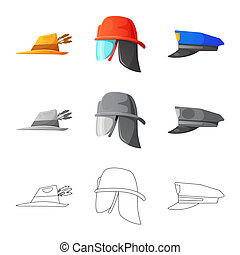 Vector design of headgear and cap icon. Set of headgear and accessory stock symbol for web.