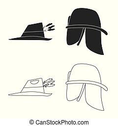 Vector design of headgear and cap symbol. Collection of headgear and accessory vector icon for stock.