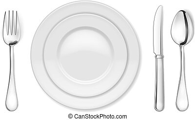 Vector Dinner plate, knife, fork and spoon isolated on white backgrond. EPS10 opacity