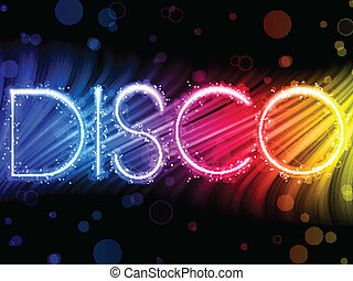 Vector - Disco Abstract Colorful Waves on Black Background