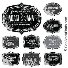 Vector Distressed Frame Set. Easy to edit. Perfect for invitations or announcements.