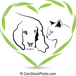 Vector Dog and Cat friendship logo