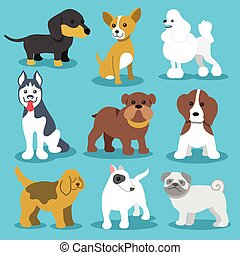 Vector Dogs Flat Icons