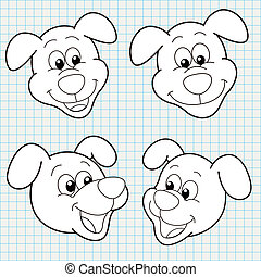 vector doodle cute dog face collection