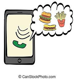 Vector doodle smartphone icon
